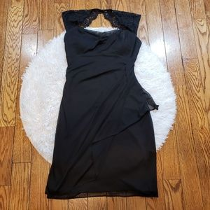 Cache Women's Black Lace Accent Cocktail Dress